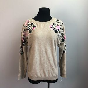 Inc international concepts floral sleeve sweater